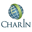 the green and blue CharIn globe logo on a white background